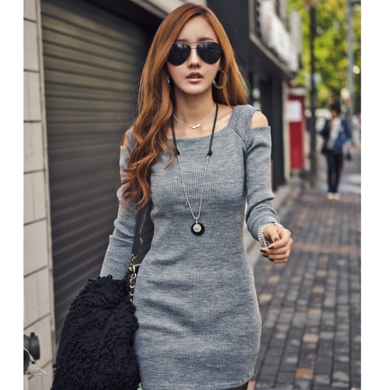 Casual Square Collar Women Long Sleeve Bodycon Sweater Knitted Dress Female Pullover Autumn Winter Dresses Vestidos