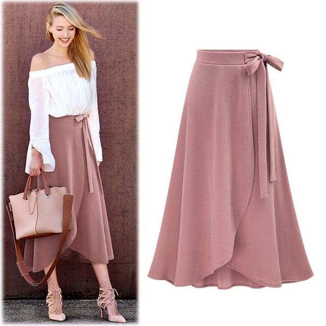 e631be5bcad Moda Para Mujer de Verano Falda Drapeado Asimétrico Elegante de La Vendimia  Arco Cintura Alta Hendidura