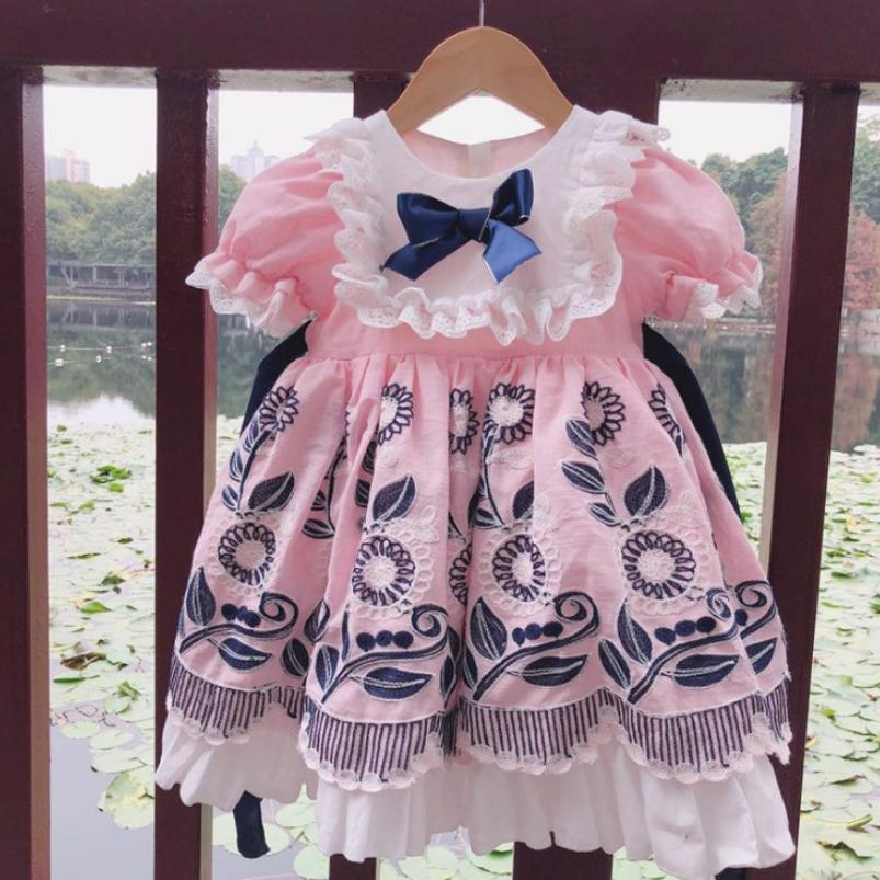 1 6T Summer Retro Spanish Style Dress Embroidered Bow Lace Print Dress For Cute Girl Cotton