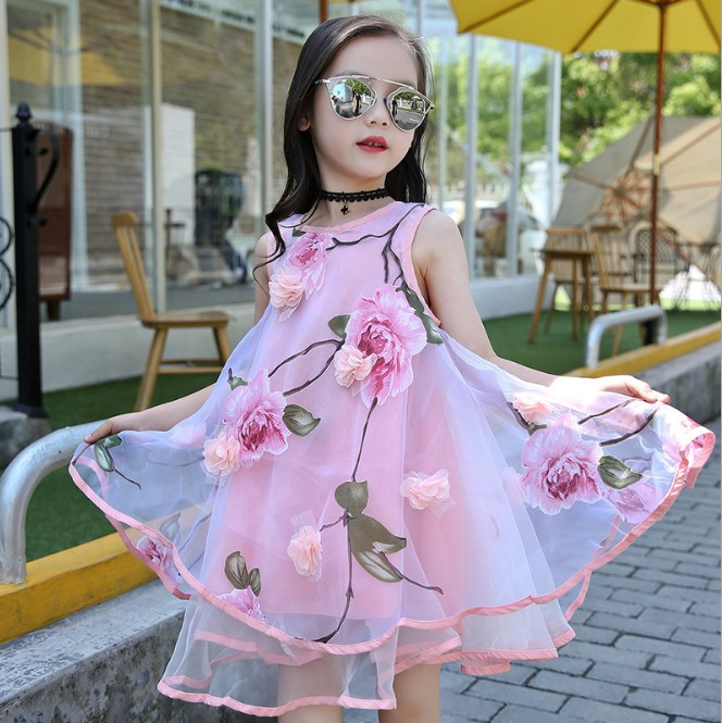 Fashion Kids Party Clothes Sleeveless   Dresses   for   Girls     Flower     Girls     Dress   Summer Style Toddlers Teen Children Princess Clothing