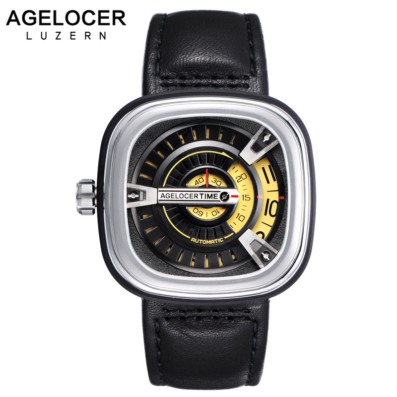 Swiss AGELOCER Brand Designer Sport Watches for Men Square 316L Stainless Steel Automatic Watch with Hours Minutes Seconds loriblu балетки