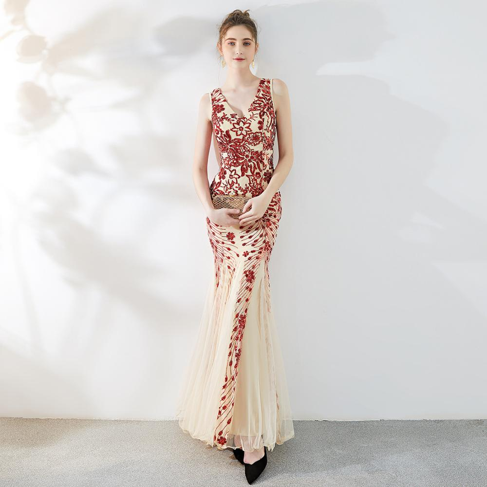 long evening dresses CX SHINE flowers sequin Lace sexy mermaid trumpet long prom party dress elasticity robe de soiree Vestidos in Evening Dresses from Weddings Events