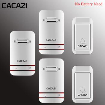 Bezprzewodowy dzwonek do drzwi cacazi z własnym zasilaniem wodoodporne światło led bez baterii domowy dzwonek bezprzewodowy US EU UK Plug 1 2 przycisk 1 2 3 odbiornik tanie i dobre opinie wireless Dzwonki CACAZI-V027G Doorbells Electrical No need battery -30~70 degree Push Button 120M( open area) AC100-240V