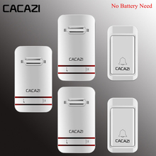 CACAZI Wireless Doorbell Self-Powered Waterproof LED Light No Battery Home Cordl