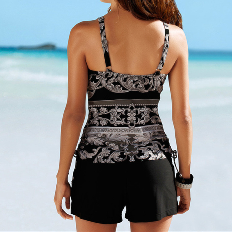 2019 Two Piece Swimwear Women Plus Size Tankini Swimsuits with Shorts V neck Tankinis Set Swim Wear Black Print Bathing Suit 2XL