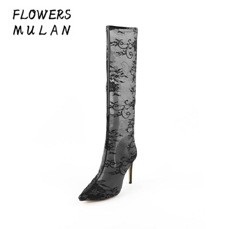 Sexy Black Lace Long Boots Pointed Toe Zip Side Stiletto High Heels Women Knee High Boots Summer Fashion New Arrival Women Shoes цены онлайн