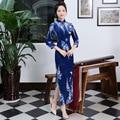 Autumn Winter Long Satin Velvet Chinese Traditional Cheongsam Wedding Evening Wrap Dress Full-Length High-slit Floral Qipao Blue