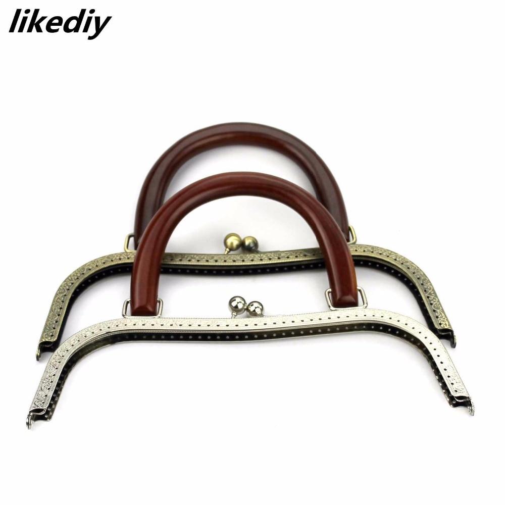 10 pcs lot 27 cm Antique Bronze Silver big size M shaped wood handle Metal Purse