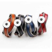 Zipper Bracelet 105 Real Genuine Leather Retro Fashion Rock Punk 18mm Snap Button Charm Jewelry For Women Men Gift