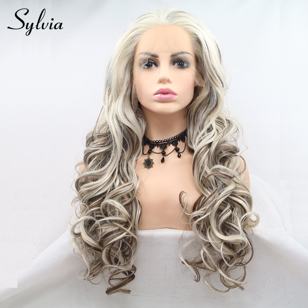 Sylvia Platinum Blonde Highlight Brown Bouncy Curly Synthetic Lace Front Wigs Free Parting Mixed Color Heat