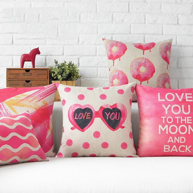 45x45cm Cotton Linen Pillow Case Romantic Love Letter Chair Seat Square Decarative Pillow Cover Home Living Textile