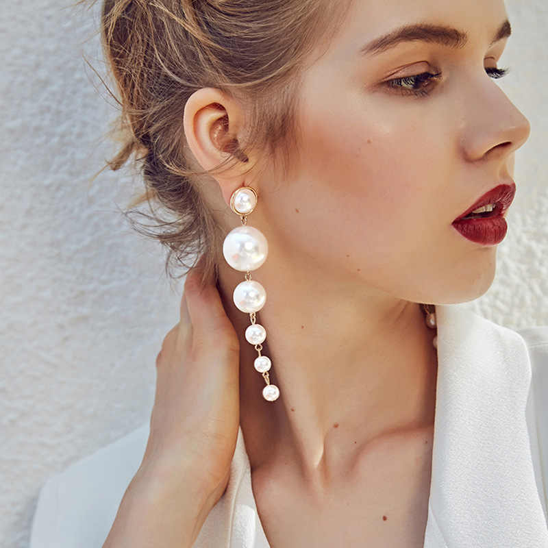 Trendy Elegant Created Big Simulated Pearl Long Earrings Pearls String Statement Dangle Earrings For Women Wedding Party Gift