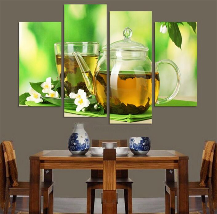 4 Panels Modern Kitchen Art Picture Painting Combination Modern