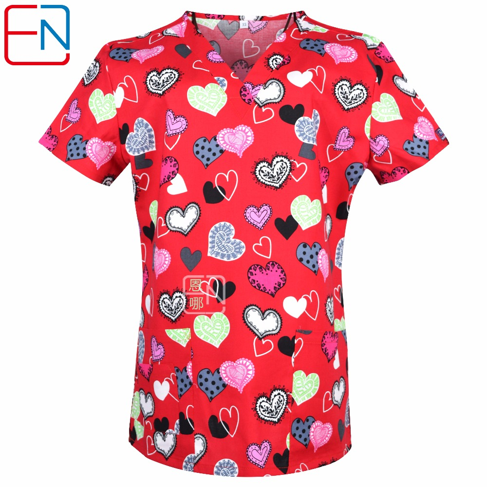 NEW 0104 15 designs in Hennar women medical scrub top with V neck 100% cotton medical uniforms, surgical scrubs top ...