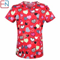 NEW 0104 15 Designs In Hennar Women Medical Scrub Top With V Neck 100 Cotton Medical