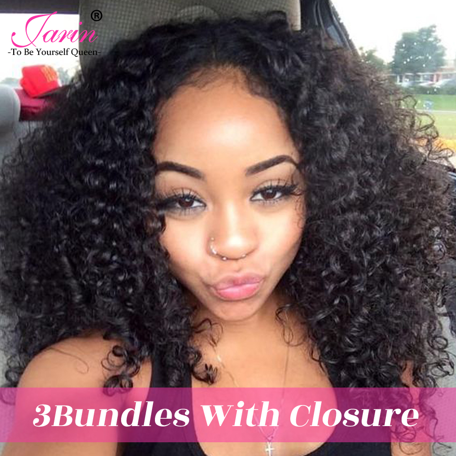 JARIN Hair 4Pcs Raw Indian Afro Kinky Curly Bundles with Closure 100% Human Hair Weaving Non-Remy Hair Extensions Natural Black