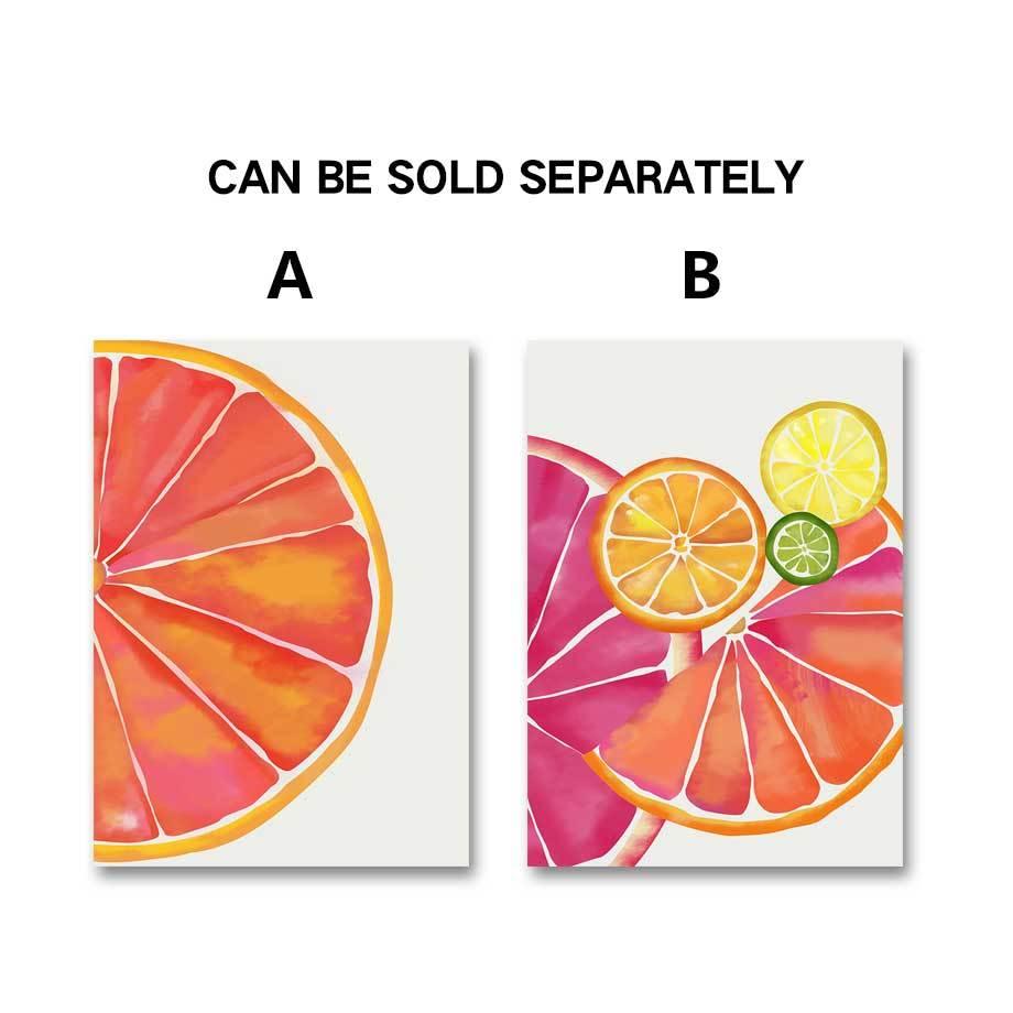 Sevimli Meyve Limon Portakal Duvar Sanati Tuval Yagliboya