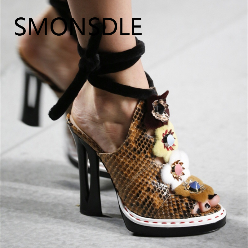 2018 Trendy Women Sandals Genuine Leather Strang High Heels Peep Toe Flowers Summer Shoes Lace Up Platform Sandals Shoes Woman цены