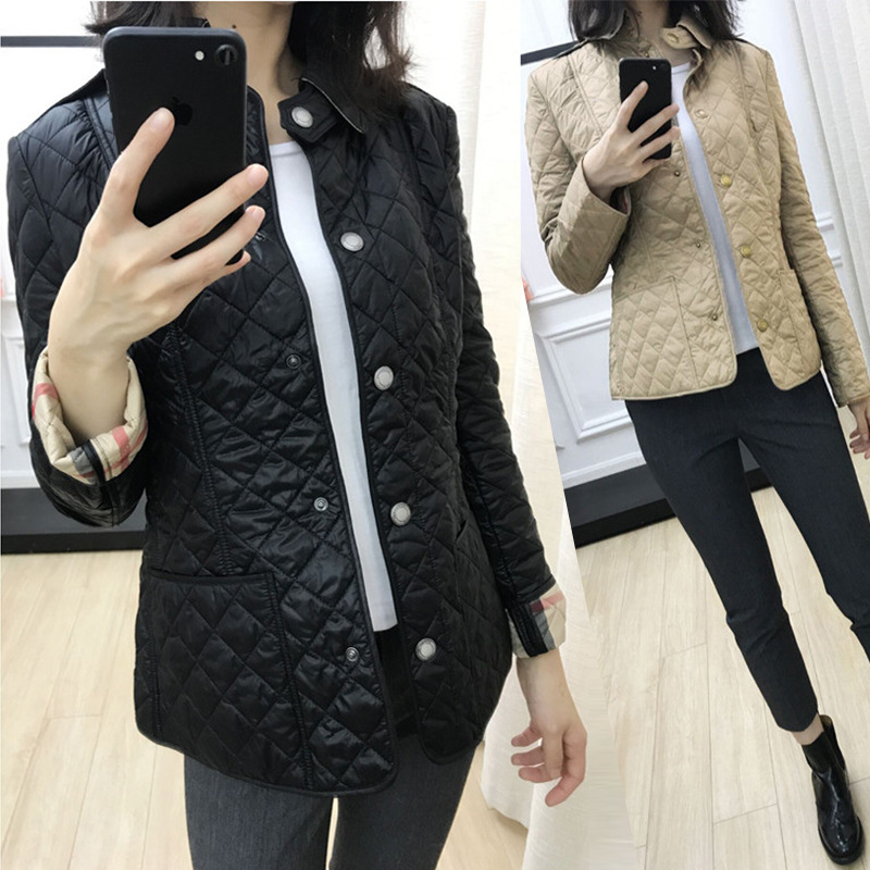 BURDULLY 2018 Plaid Slim Women's Coat High-quality Spring Fall   Parkas   Diamond Lattice Jacket Cotton Coat Jacket light Down   Parka