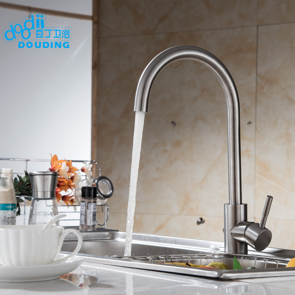 ФОТО DooDii 304 Stainless Steel No Lead Kitchen Sink Faucet Sink Tap 360 Swivel Mixer Kitchen Bathroom Faucet