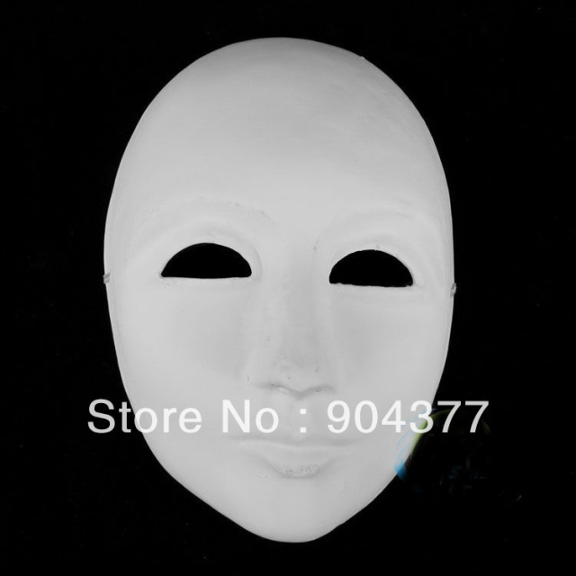 Thicken Unpainted White Men Masquerade Masks Paper Pulp Full Face to Decorate DIY Hand Fine Art Painting Program Net 80g
