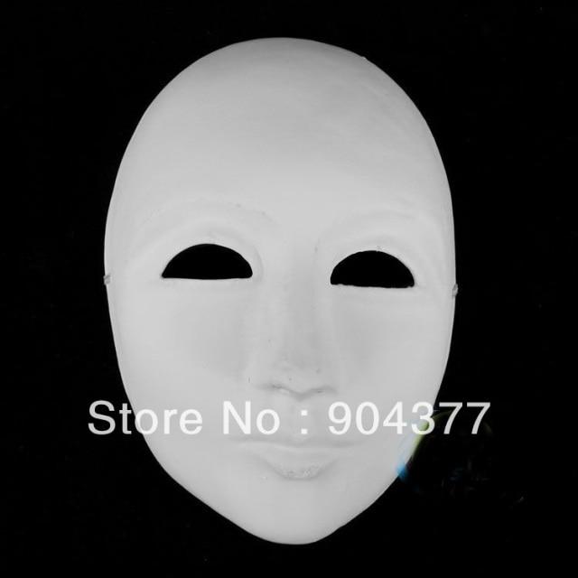 Thicken Unpainted White Men Masquerade Masks Paper Pulp Full Face ...