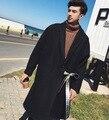 2017 Harajuku Готическая Мода Поясом Куртки Зимние Мужские Куртки И пальто Люксовый Бренд Пальто Длинные мужские Шерстяные Пальто Мужчины Горох пальто
