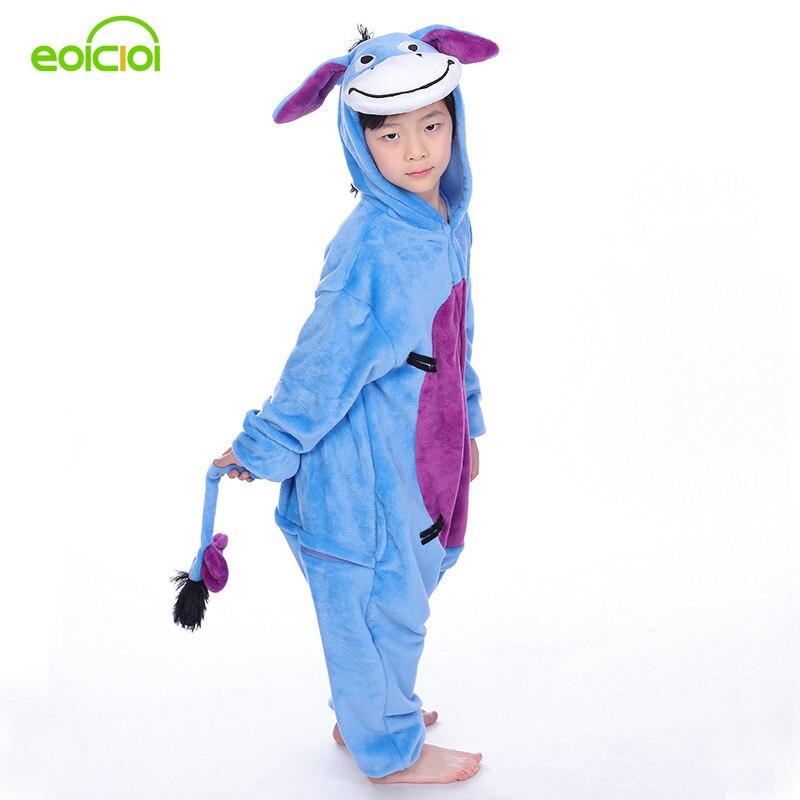 Eoicioi Дети пижамы животного осел Косплей Комбинезоны осень-зима Новый фланели пижамы для мальчиков и девочек с капюшоном милые пижамы