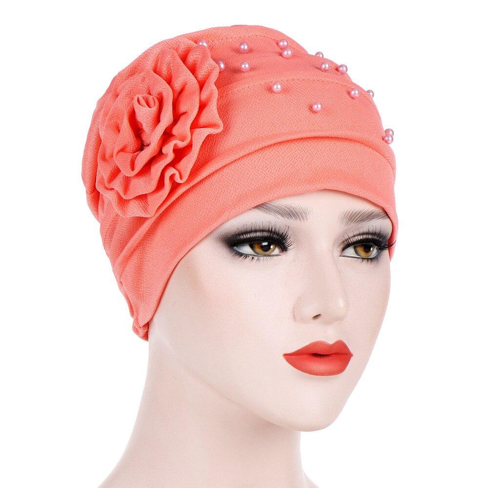 Gift for Friends,1PC Latest Women Stretch Silk Soft Elegant Elasticity Chiffon India Muslim Fold Chemo Hair Loss Cap