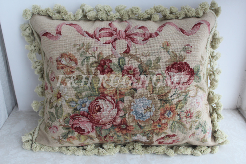 FREE SHIPPING 15K 16x20 Needlepoint pillow, handknotted cushion with floral designs no insertion