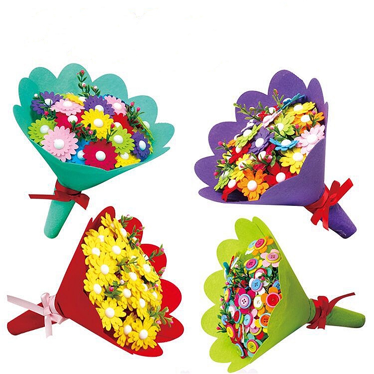 4PCS/set Holding Flowers Gift Kindergarten Handmade Diy Button Fabric Bouquet Material Package Children's Educational Creative