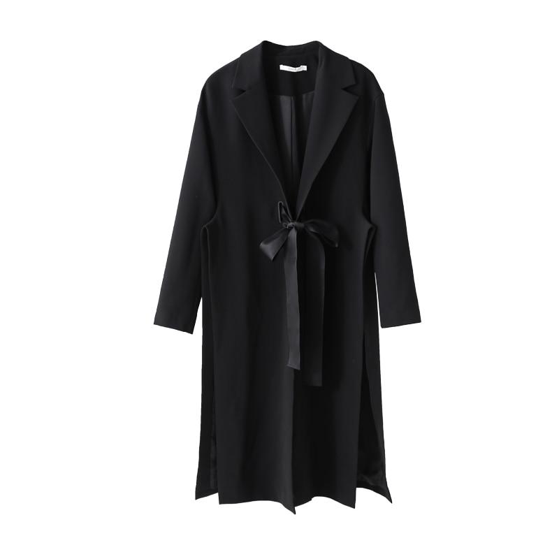 Réglable Manteaux Chic 2018 Manteau Lady Femelle Fentes Femmes Automne Noir Tranchée Minimaliste Office Amii Taille nOYzwqax