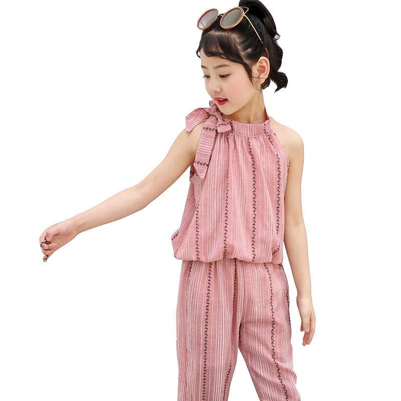 גדול בנות בגדי סט תינוקת קיץ בגדי 2019 ילדי אופנה סטי בוטיק תלבושות ילדי פסים חולצות + מכנסיים 2 pcs חליפה