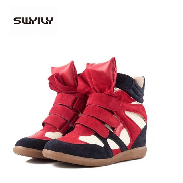 09700e41fc9f Isabel Fashion Platform Wedge casual shoes Women Height Increasing Shoes  2017 Soft Leather High Top casual Shoes Boots