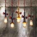 RH Sótão Vindima Luzes Pingente Estilo Tubulação De Água De Ferro Industrial Hanglamp Luminárias Para Iluminação Casa Cafe Bar Lamparas Colgantes