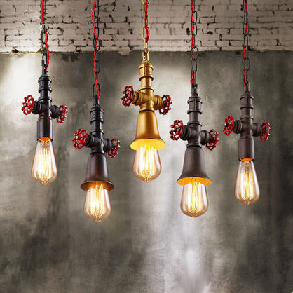 RH Vintage Loft Style Pendant Lights Iron Water Pipe Industrial Hanglamp Fixtures For Home Lightings Cafe Bar Lamparas Colgantes loft rh vintage pendant lights glass