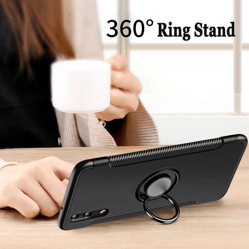 For Huawei P20 P30 Pro 360 Metal Magnetic Car Holder Stand Ring Cover For Huawei P20 Lite Hybrid Rugged Hard PC Soft TPU Fundas