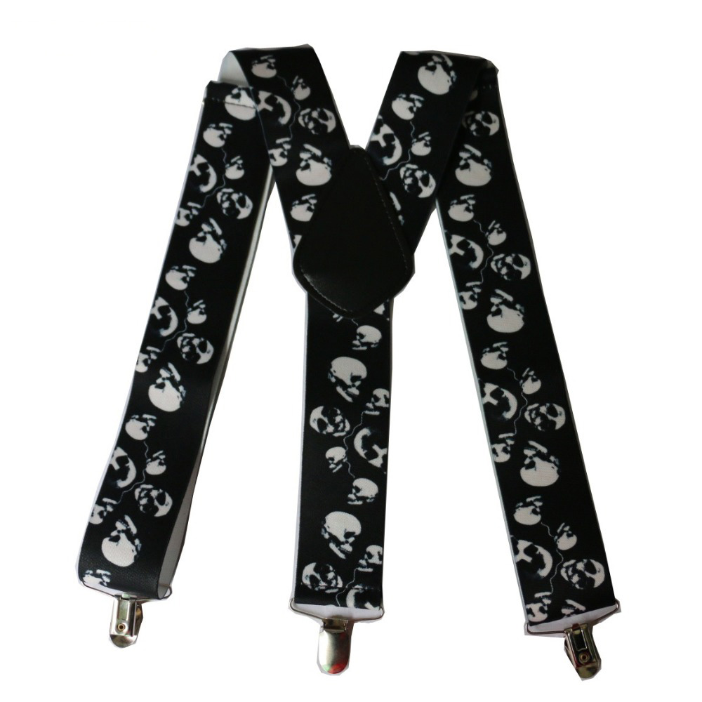 Winfox Vintage Black 5cm Wide Suspenders Men Punk Skull Male Braces Suspender