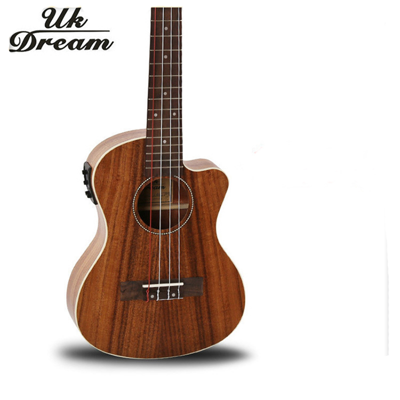 26-inch Acacia Wooden Guitar With Eletric Box Musical Instruments Acoustic Ukulele Chipping Classic 4 Strings UT-C8QEQ