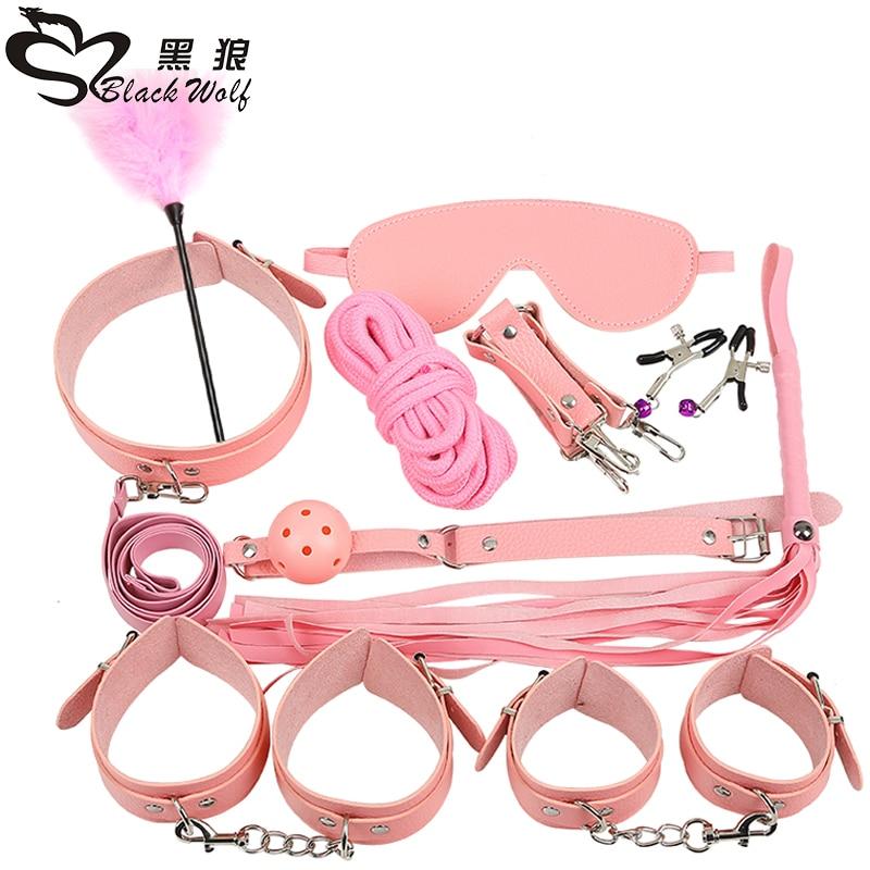 Sex Products 10 Pcs/Set BDSM Bondage Set Leather Fetish Adult Games Toys for Couples Slave Game SM Product Collar Eye Mask