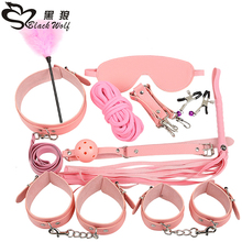 Sex Products 10 Pcs/Set BDSM Bondage Set Leather Fetish Adult Games Sex Toys for Couples Slave Game SM Product Collar Eye Mask цены онлайн