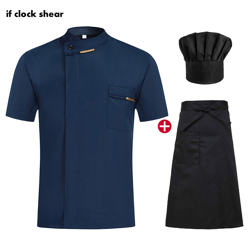 Unisex Chef restaurant uniforms hotel catering shirts bakery chef Jackets Kitchen work clothes summer short sleeve catering coat image
