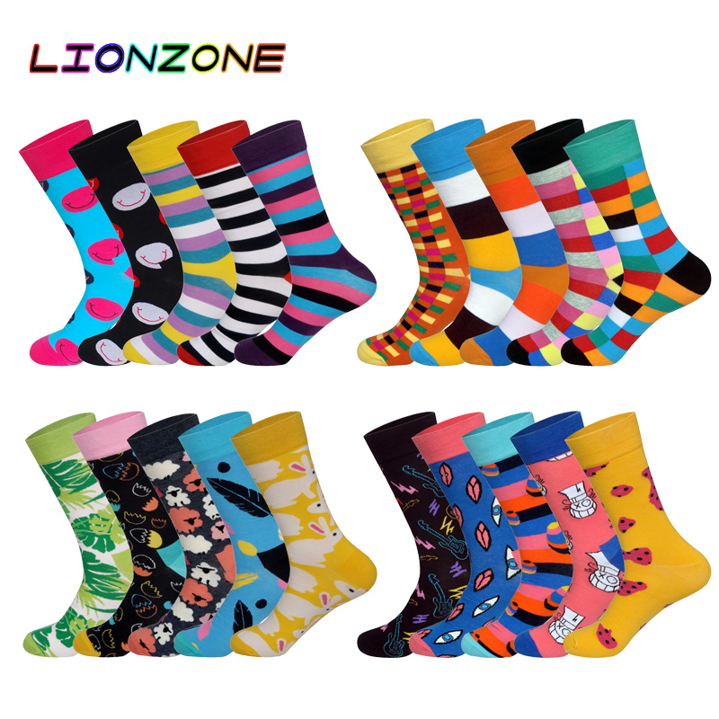 LIONZONE 5Pairs/lot Happy Socks Pack Sell Animals MutiColors British Style StreetWear Designer Cotton Socks Funny With Gift Box