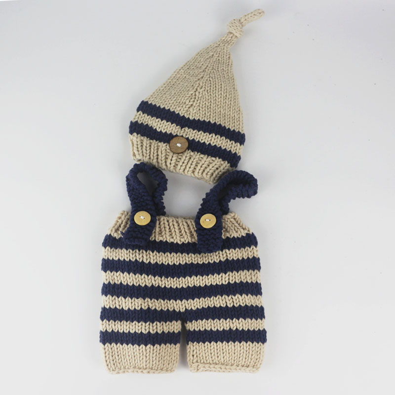 Newborn baby photography props infant knit crochet costume blue ...