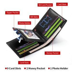 Image 2 - LAORENTOU עור ארנקים גברים עור אמיתי גברים של קצר ארנק עם רוכסן כיס Mens סטנדרטי ארנק מחזיקי כרטיס אשראי