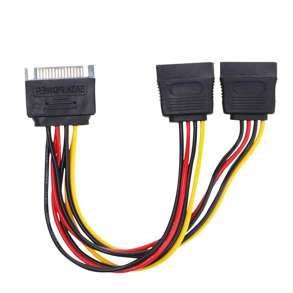 SATA Power Cable 15 Pin SATA Power Y Splitter Adapter Cable SATA 15 Pin Male To Dual Female Power Cable