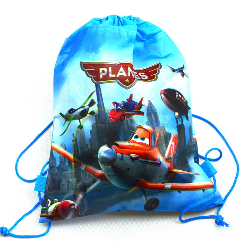 12pcs Cartoon Planes Movie Non-woven Fabrics Drawstring Backpack Birthday Wedding Party Decoration Supplies