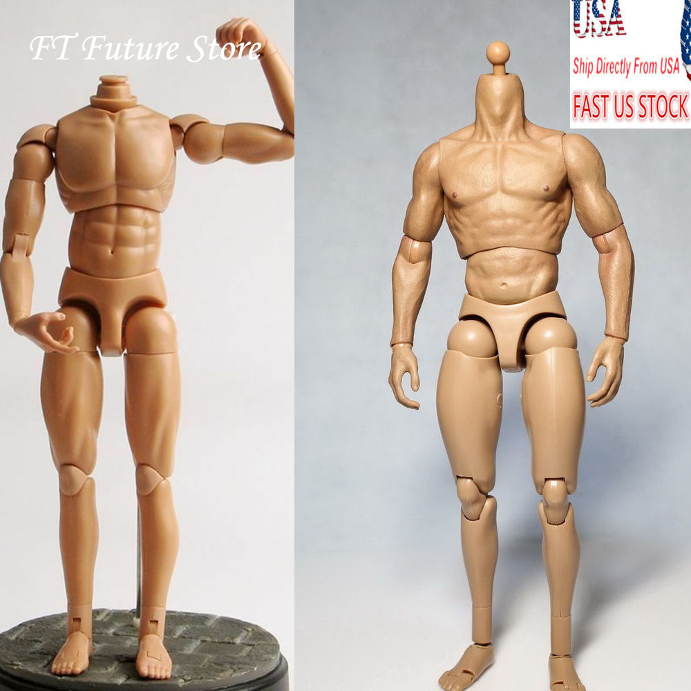 2 Styles Body 1/6 Scale 12 Figure Action Dragon Body/Wolverine 1.0 Nude Muscle Man Body Figure Soldier Model for 1:6 Head image