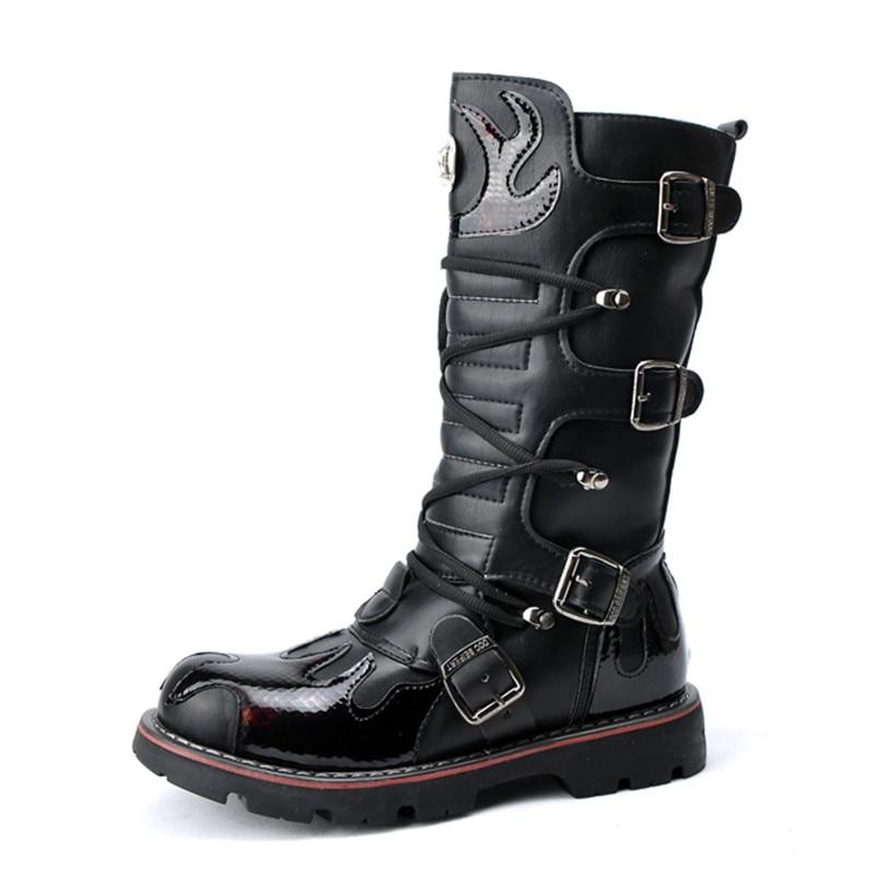 Vaquero Zapatos Mediados Cosplay Gruesa Primavera Militares De Negro Calidad Ternero Hebilla Hombres Suela Botas Motocicleta 2019 La Superior Txq0HBqw