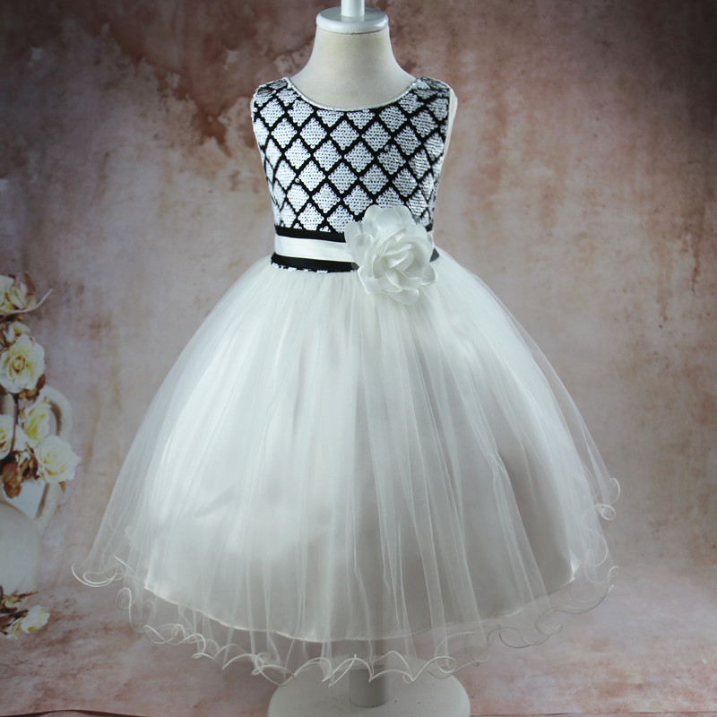 2017 New Sleeveless Sequin Flower Dress Princess Tulle Shiny Girls Summer Wedding Dresses Clothes With Glitter Bow For 10 Years new flower girls dress diamond sequin